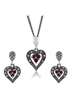 Gemondo 925 Sterling Silver Garnet & Marcasite Heart Earring & 45cm Necklace Set