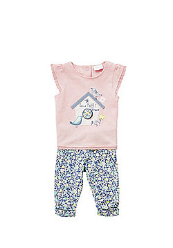 F&F Home Tweet Home Top and Floral Leggings Set - Multi