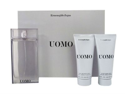 Uomo by Ermenegildo Zegna Eau de Toilette Spray 100ml, Aftershave Balm 100ml & Hair and Body Wash 100ml