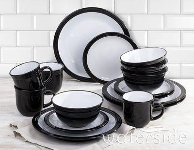16 Piece Black Camden Dinner Set