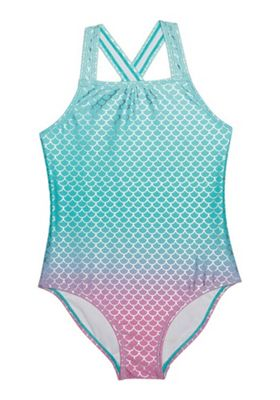 F&F Ombre Mermaid Foil Swimsuit Aqua/Pink 9-10 years