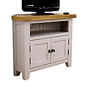 Arklow Painted Sage Grey Oak Corner TV Unit / Oak Corner TV Stand