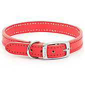 Ancol Heritage Flat Leather Dog Collar - Size 8 - Red