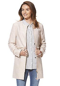 F&F Tweed Style Collarless Coat - Pink