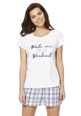 F&F Wake Me For The Weekend Short Pyjamas White/Navy 8-10