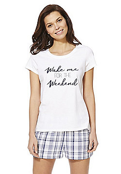 F&F Wake Me For The Weekend Short Pyjamas - White/Navy