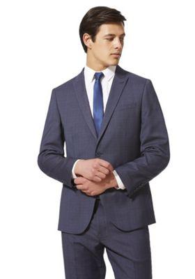 F&F Checked Regular Fit Suit Jacket Blue 50 Chest regular length