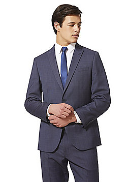 F&F Checked Regular Fit Suit Jacket - Blue