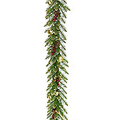 10ft Pre-lit Berry, Cone and Gold Glitter Garland (100 white LEDs)