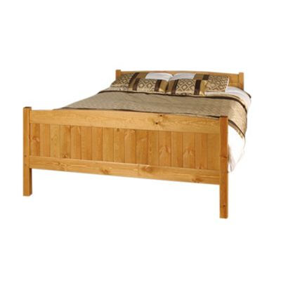 Comfy Living 4ft6 Double Classic Wooden Frame in Caramel with Damask Orthopaedic Mattress