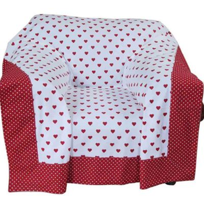 Homescapes Cotton Red Heart Decorative Sofa Throw
