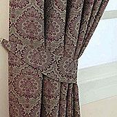 Homescapes Purple Jacquard Tie Back Pair Floral Damask Design