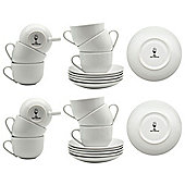 White Cappuccino Coffee Cup / Saucer Set - 200ml (7oz) - Set of 12