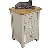 Aspen Painted Oak Sage Grey 3 Drawer Bedside Table