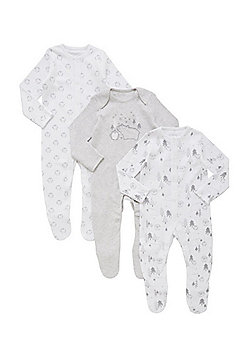 F&F 3 Pack of Woodland Print Sleepsuits - White