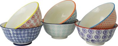 Nicola Spring Patterned Cereal Bowls - 152mm - 6 Individual Designs - x6