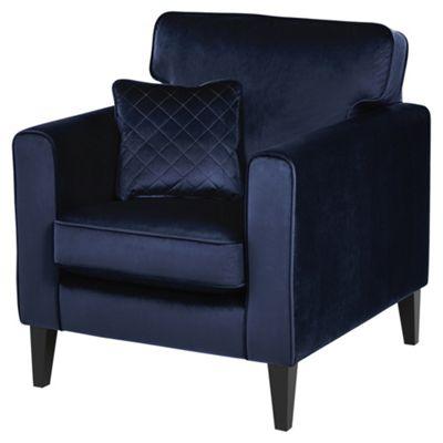 Fox & Ivy Dexter Velvet Armchair, Navy