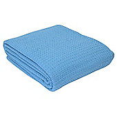 Homescapes Organic Cotton Waffle Baby Blanket Blue, 125 x 150 cm