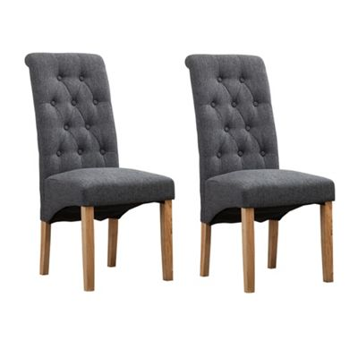 Set of 2 Fabric Dining Chairs Roll Top Scroll High Back (Grey)
