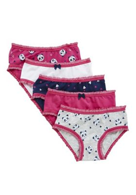 F&F 5 Pack of Panda and Heart Briefs with As New Technology 3-4 years Multi