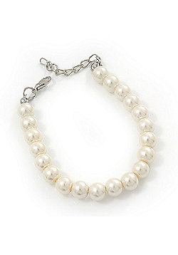 Classic Light Cream Glass Pearl Bracelet In Silver Plating - 15cm Length/ 5cm Extension