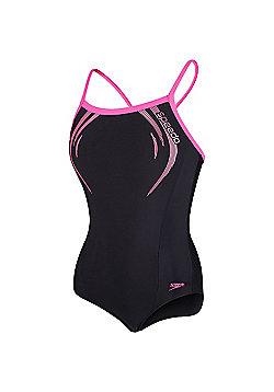 Speedo Endurance®10 Contrast Trim Logo Medalist Swimsuit - Black