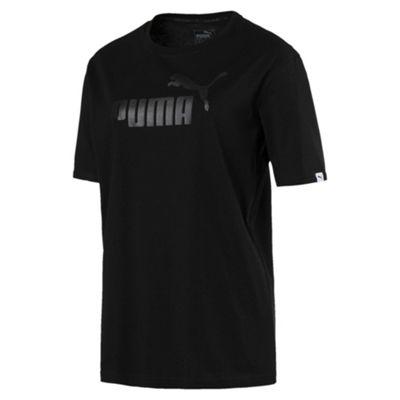Puma Essential No.1 Womens Sports Boyfriend T-Shirt Black - UK 12