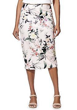 F&F Floral Print Scuba Midi Skirt - Pink