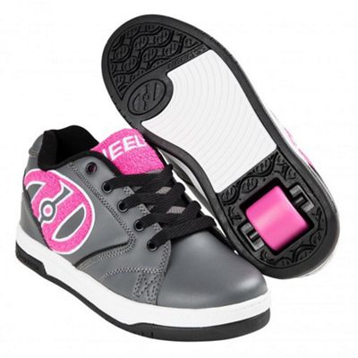 Heelys Propel Terry Charcoal/Pink Terry Logo Kids Heely Shoe JNR 13