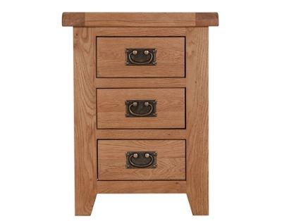 Arklow Oak Bedside Table / 3 Drawer Bedside Cabinet