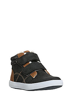 F&F Faux Suede Fleece Lined High Top Trainers - Grey