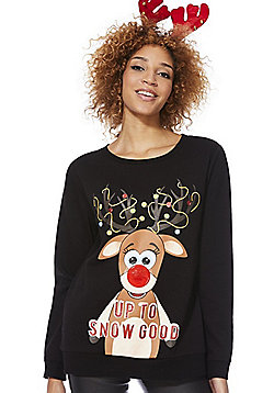 F&F Up To Snow Good Light-Up Christmas Sweatshirt with Headband - Black