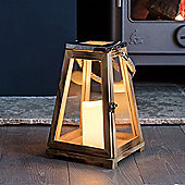 Trapeze Wooden Battery LED Candle Lantern