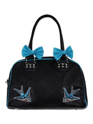 Banned Blue Swallows Women's Handbag 36x24cm Black