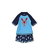 F&F Lobster UPF 50+ Rash Vest and Shorts Set - Blue