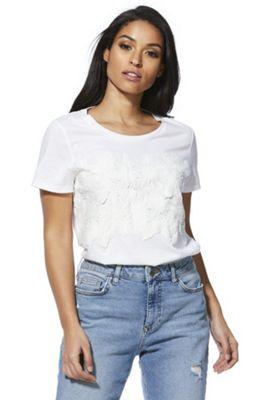 F&F Floral Lace Applique T-Shirt White 12