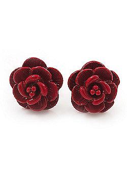 Tiny Red 'Rose' Stud Earrings In Silver Tone Metal - 10mm Diameter