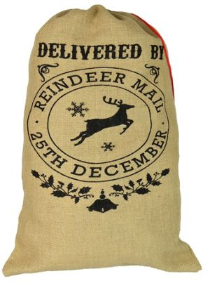 Christmas Stocking, Hessian Sack - 'Delivered By Reindeer Mail 25th December'