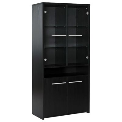 Altruna Tall Glazed Display Cabinet - Black Ash