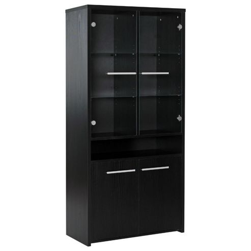 Altruna Tall Glazed Display Cabinet - Black Ash
