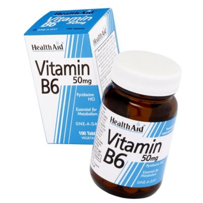 Health Aid Vitamin B6 (Pyridoxine HCl) 50mg 100 Tablets