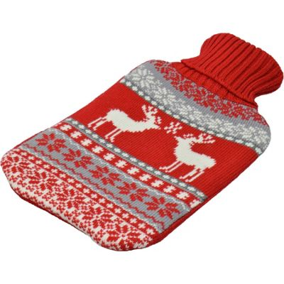 Full Size Hot Water Bottle With Cover - Grey / Red Christmas Stag / Reindeer