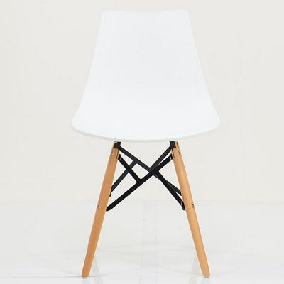 Bergen White Plastic Dining Chair Beech Leg