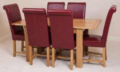 Hampton Solid Oak Extending 120 - 160 cm Dining Table with 4 Red Washington Leather Chairs