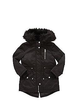 F&F Shower Resistant Faux Fur Trim Parka - Black