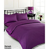 Dreamscene 4 Piece Complete Duvet Cover Pillowcases Fitted Sheet Damask Purple - Aubergine