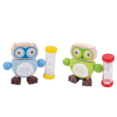 Bigjigs Toys Owl Tooth Brush Timers (Pack of 2 - Blue and Green)
