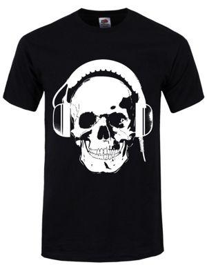 Headphones Skull Men's T-shirt, Black.