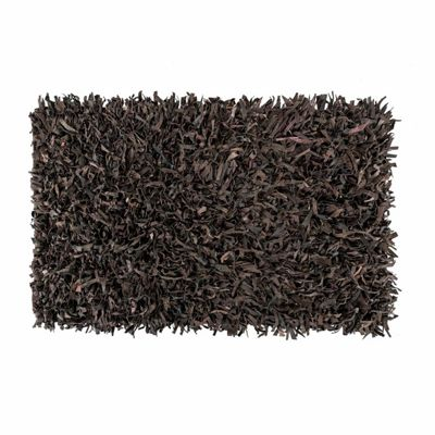 Homescapes Dallas Leather Shaggy Rug Chocolate, 120 x 180 cm