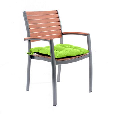 Gardenista Tufted Chair Seat Pad in Water Resistant Fabric with Ties - Lime